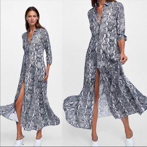 ZARA Grey Snake Print Long Sleeve Dress NWOT